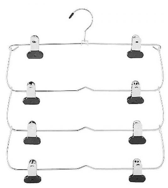 4-Tier Folding Skirt Hanger - Chrome/Black