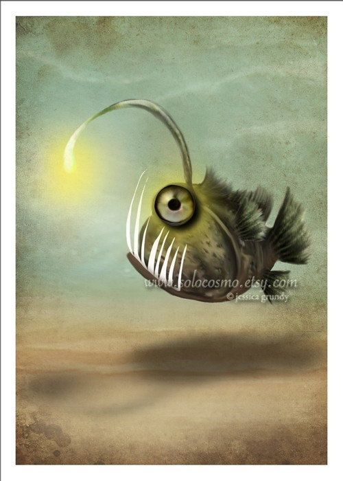 "Angler Fish Art 5x7 Print ""Mr. Fishy on His Own"" Premium Giclee Hahnemuhle Fine Art Print - Print of Original Jessica Grundy Art"