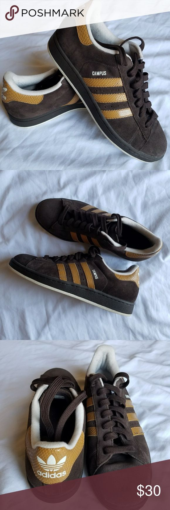 Adidas Campus Shoes size 9 Mens Adidas Campus shoes. Brown suede in men's size 9. Worn a few times but still in excellent shape. As much as I like them, I'm just not cool enough to pull them off... but maybe you are!? C'mon, buy them! All the cool kids are doing it. Adidas Shoes Sneakers