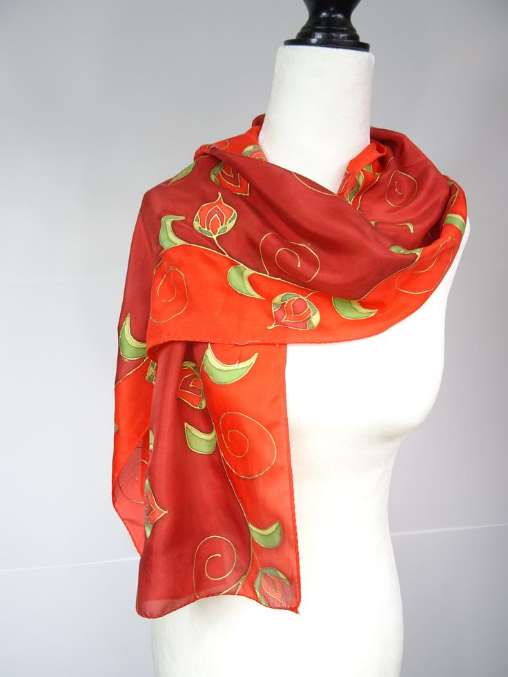 Hand painted silk scarf, red, gold & green, red roses, handmade, handpainted floral silk scarf, red scarf, red floral scarf, Christmas gift by SeesaSilk on Etsy
