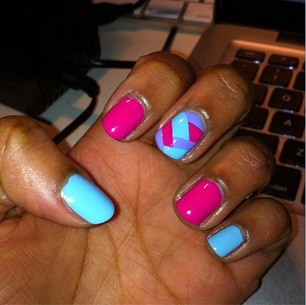 #Pastel #Fishtail #featurenail #NailArt