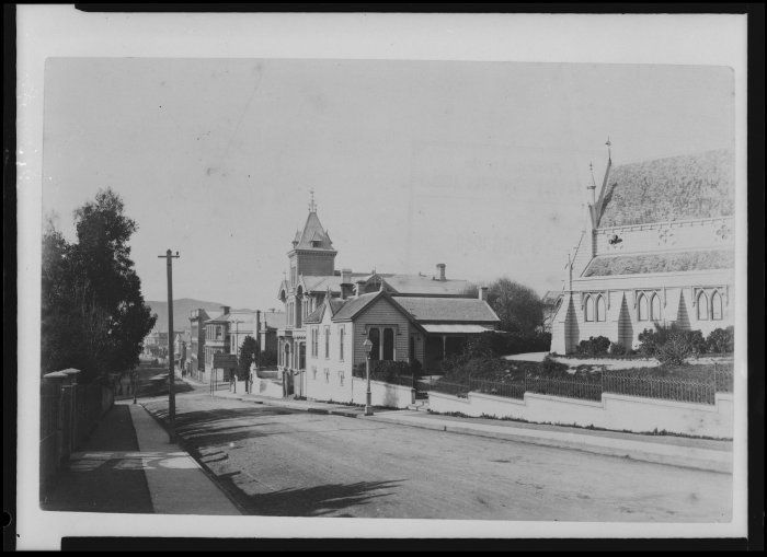 Boulcott Street, looking down the street to the intersection of Willis & Manners Streets St Mary of the Angels church is on the right 1880