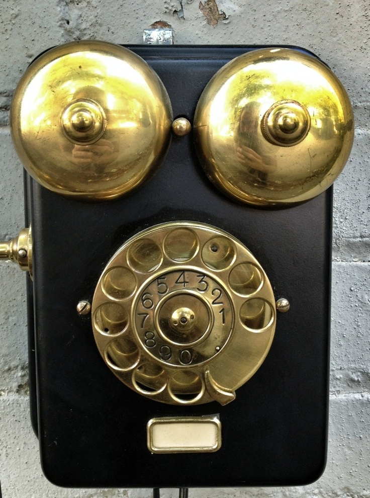 vintage brass + black phone