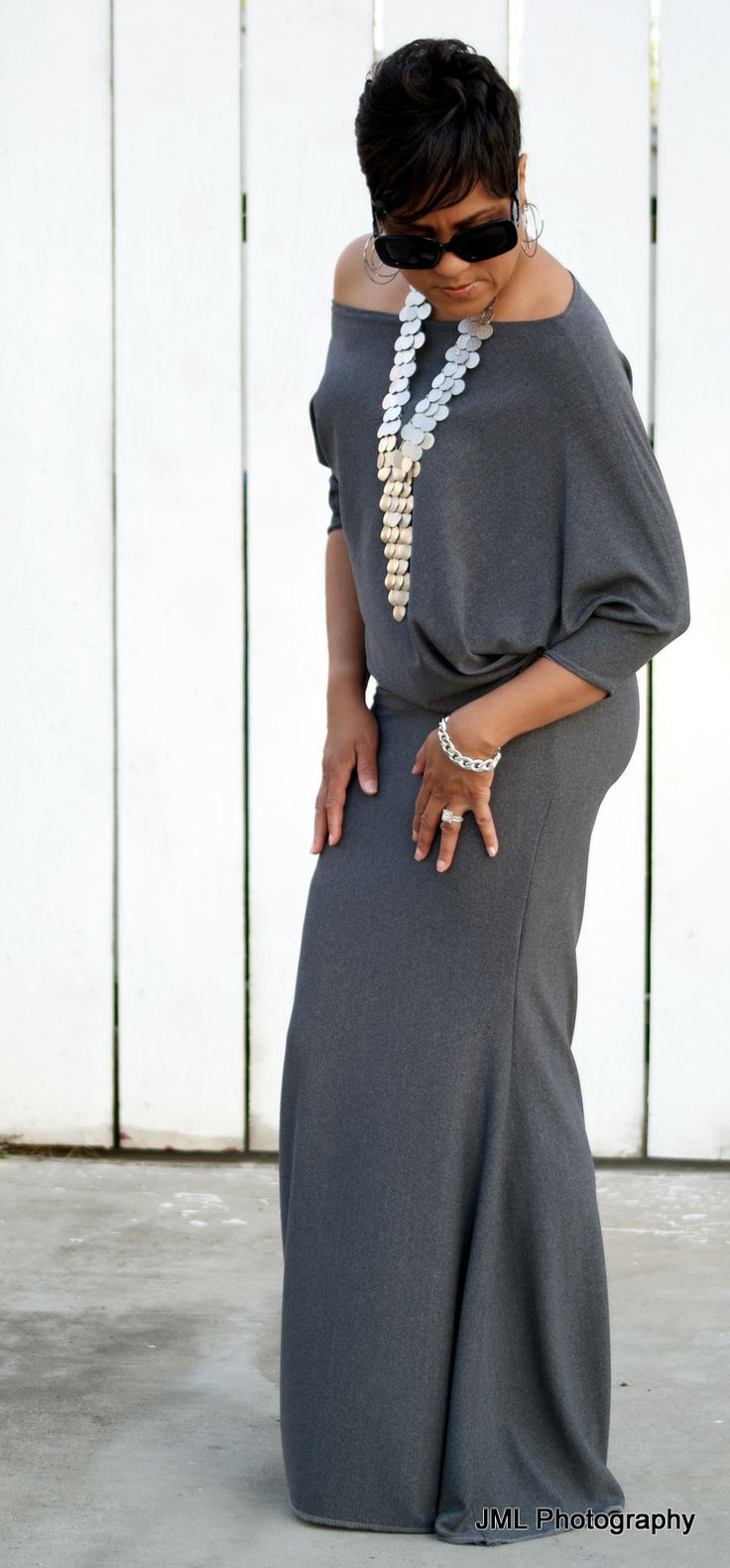 Dolman sleeve flare dress in grey but for spring!