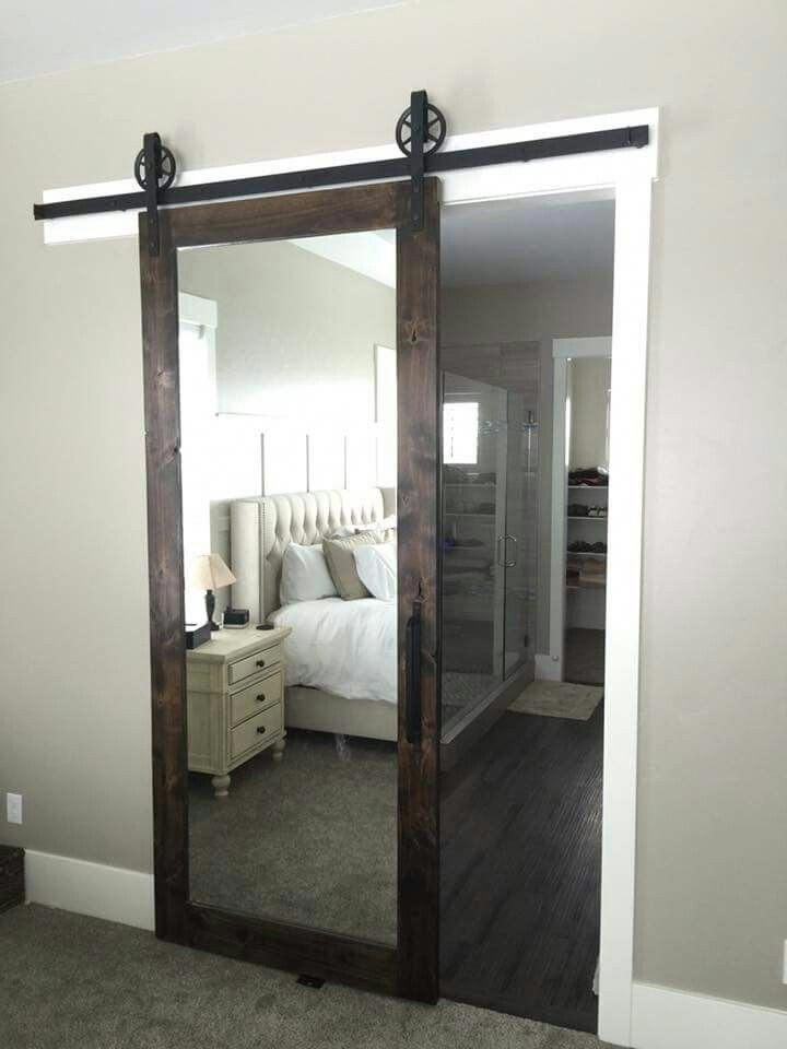 LOVE this mirrored barn door for a master bedroom! #HomedecorIdeas