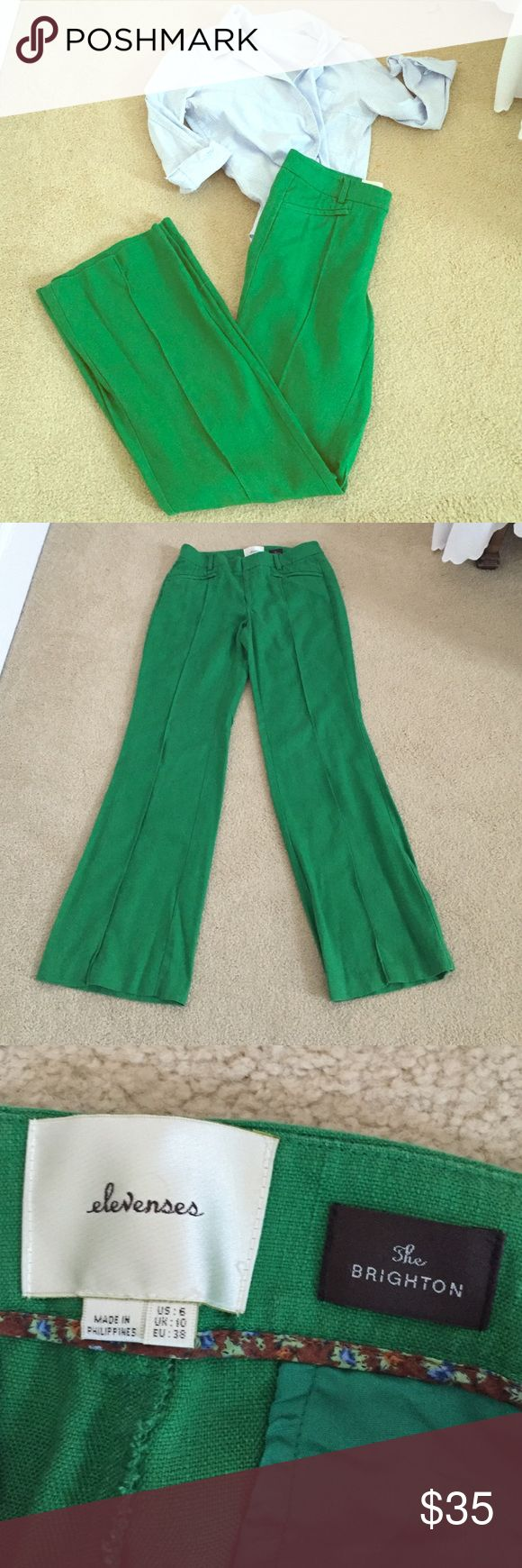 """Kelly Green Pants Amazing kelly green pants from Anthropologie. Size 6. Waist measures about 15.25"""" across. Mid to high-rise (9""""). Inseam measures 31"""". Fabric: 70% tencel/30% linen. Very slight pilling on inner thigh (see pic). Anthropologie Pants Boot Cut & Flare"""