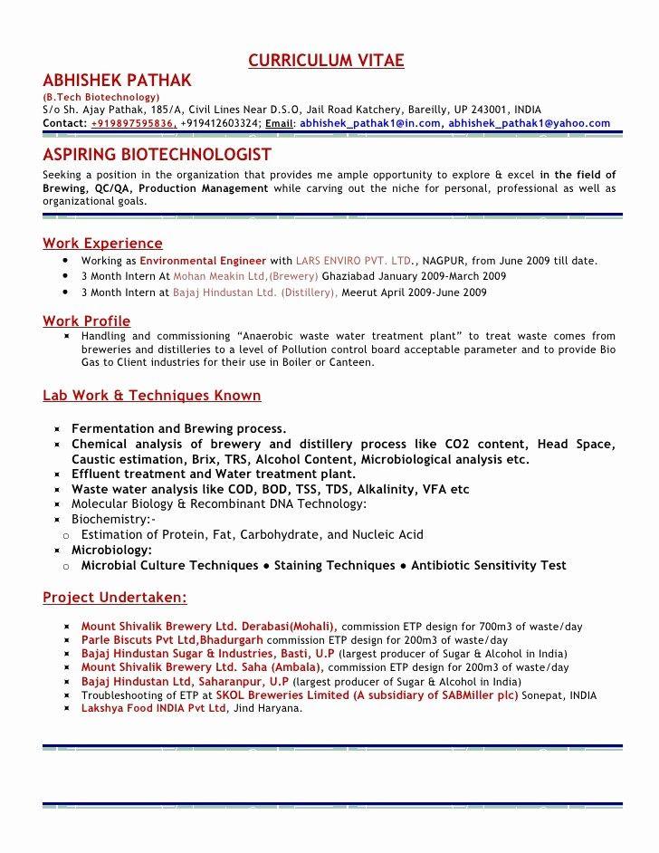 Microbiology Resume Example Elegant Resume Abhishek Pathak In 2020