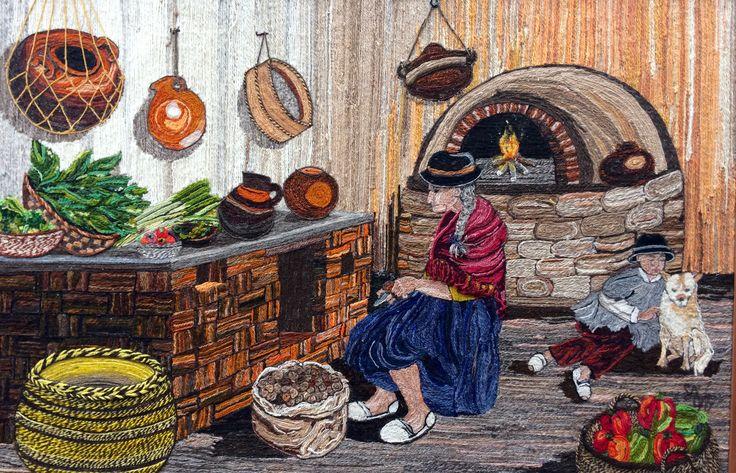Interpretación de la foto Cocina de Tibaná de autor desconocido Elaborado por Lucia Rolón del Taller de Collage en Lana