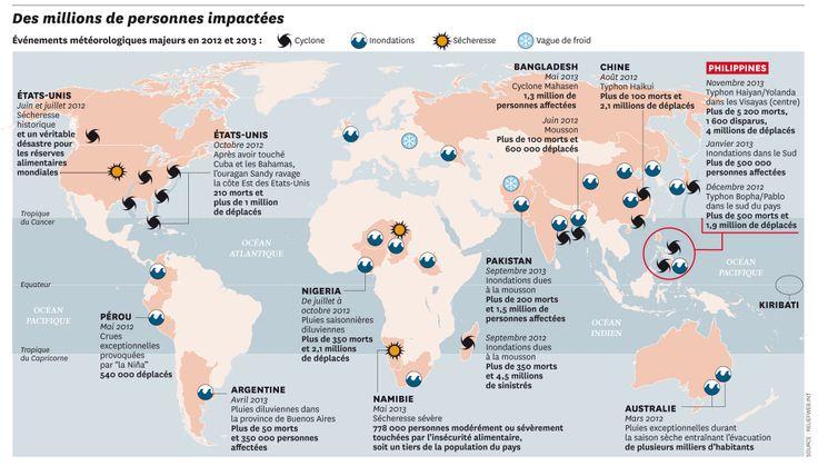 Carte des catastrophes climatiques majeures en 2012 et 2013, publiée sur Courrier International http://www.courrierinternational.com/magazine/2013/1204-le-temps-des-catastrophes