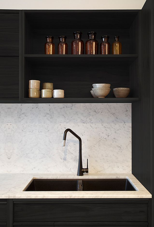 Black Kitchen Faucet, open shelving, marble back splash...