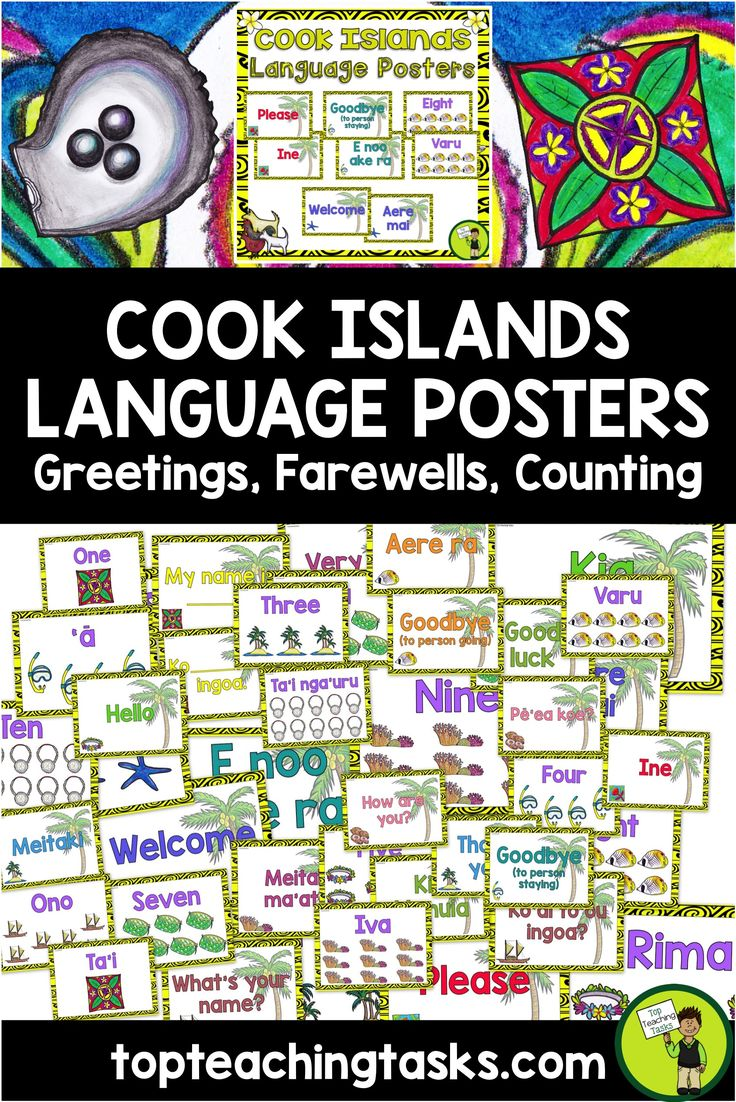 Brighten up your classroom while introducing your students to the Cook Islands Māori Language with these Cook Islands Māori Greetings, Introductions, Farewells and Counting Classroom Display Posters.  This would be perfect to use during Cook Islands Language Week - Te epetoma o te reo Māori Kuki Airani - 30 July to 5 August, 2017.   These posters come in both English and Cook Islands Māori.