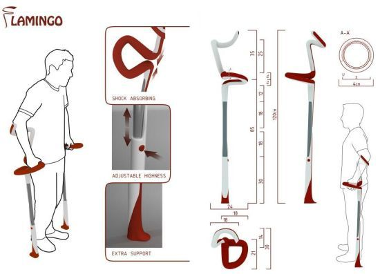 Flamingo crutches offer stability and precise mobility to users | Designbuzz : Design ideas and concepts
