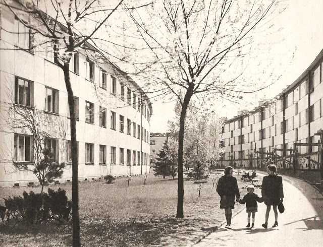 Byway in the Warsaw Housing Cooperative estate, Zoliborz Warszawa 1960, photographic elaboration by Edmund Kupiecki.  Hardcover book published by Arkady 1960 smiling faces sometimes