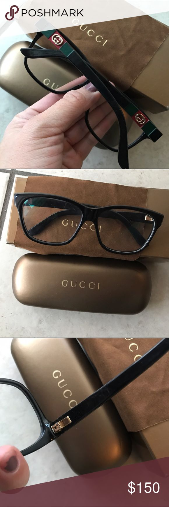 GUCCI BLACK READING GLASSES FRAMES W BOX These are 100% authentic and used by me they were my prescription so you'd have to change it to yours :) !! I scratched off the GUCCI writing on the inside thinking they'd look more sleek lol but they are 100% authentic :) Gucci Accessories Sunglasses
