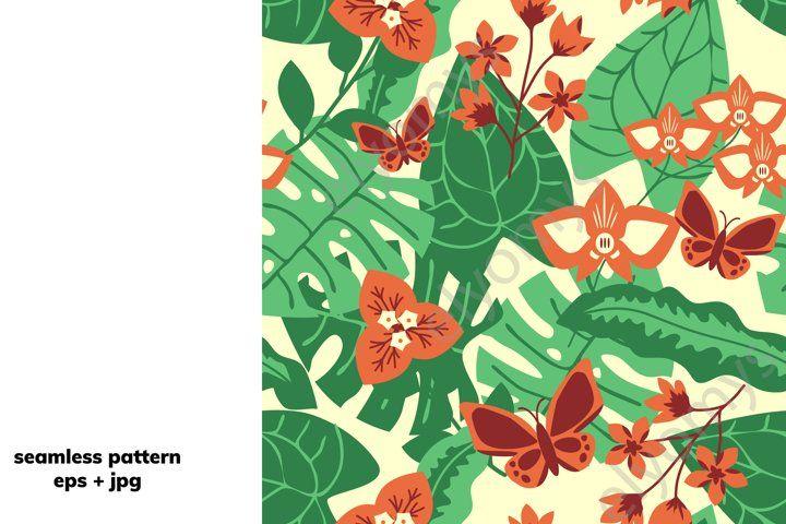 Tropical Floral Pattern 659541 Patterns Design Bundles In 2020 Tropical Floral Pattern Tropical Floral Floral Pattern