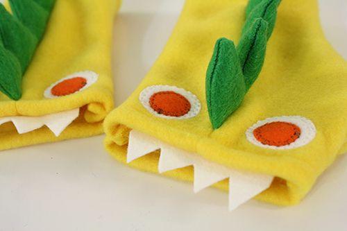 Fingerless fleece monster gloves.