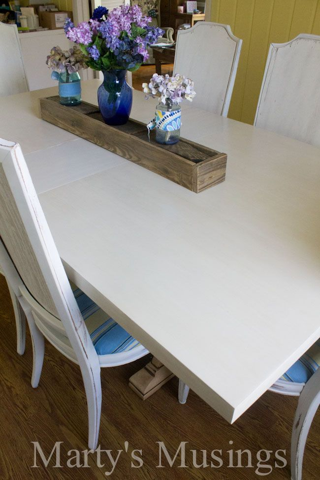 From drab to fab! Painted Kitchen Table from Martys Musings