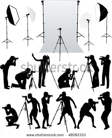 stock vector : photo accessories - studio equipment, working with vectors