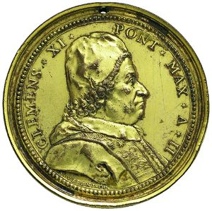 Artemide Aste - Asta XXVI: 1267 - Clemente XI (1700-1721) Medaglia A.II per il dominio della Religione Cristiana sulle tenebre e sulla ignoranza - Dea Moneta
