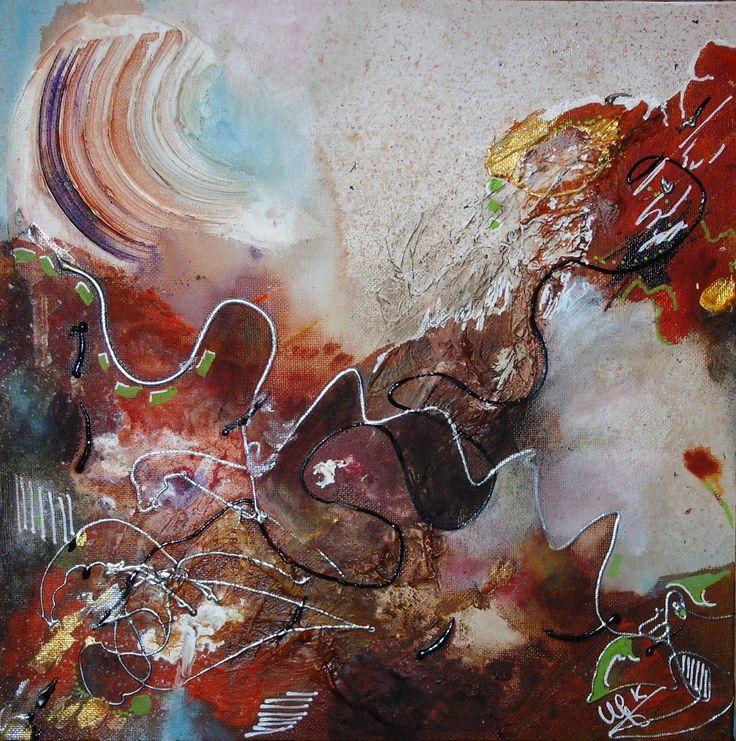 série 4 toiles - les couleurs de l'automne  40 x40 - brun