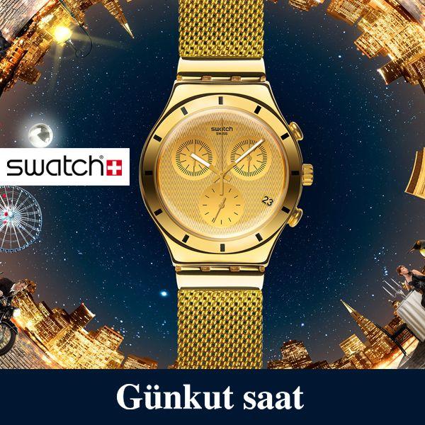 Yeni Swatch koleksiyonu, altın renginin asaletini şehrin ışıltısıyla buluşturacak!  Satın almak için;  http://www.gunkutsaat.com/catinfo.asp?src=YCG410&imageField2.x=0&imageField2.y=0