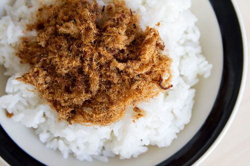 Pork floss is sort of like cotton candy—if cotton candy were made of dry, fluffy, finely shredded pork seasoned with soy sauce and sugar and looked like scraggly clumps of dryer lint. Sweet, salty, and porky lint. Mmm.