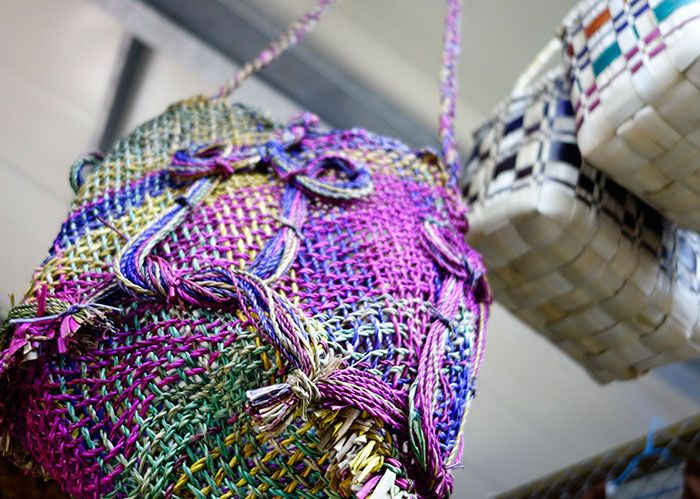 Even our local baskets, hand woven, can either look plain or sophisticated in rainbow streaks ;-) Ambae / Pentecost design. Sold at Port Vila Handicrafts Community market.