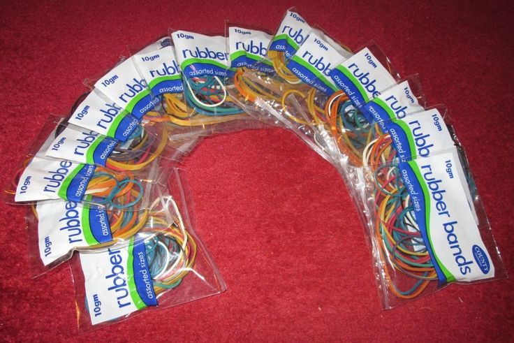 Rubber Bands. 15 packs of assorted sizes by County Stationery, each one 10gm