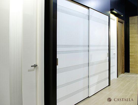 Armario Nike. Serie Imagin. Apertura de armario corredera interior. Acabado Lacado Blanco Castalla - Alto Brillo.