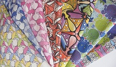 A selection of my own designs printed on to fabric by spoonflower