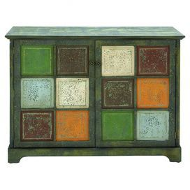 "Weathered wood cabinet with 2 doors and multicolor square panel detail.  Product: CabinetConstruction Material: WoodColor: Weathered green and multi Features: Two cabinet doors Dimensions: 33"" H x 44"" W x 15"" D"