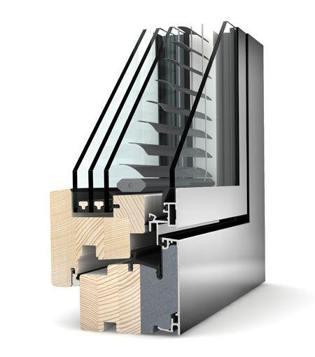 Okno drewniano - aluminiowe Internorm Home Pure HV 350. Izolacyjność cieplna okna do 0,68 W/m²K.
