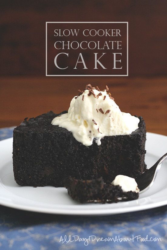 The moistest, densest, richest chocolate cake you'll ever taste, all without turning on your oven. A slow cooker is the perfect way to make cake! #recipe #dessert