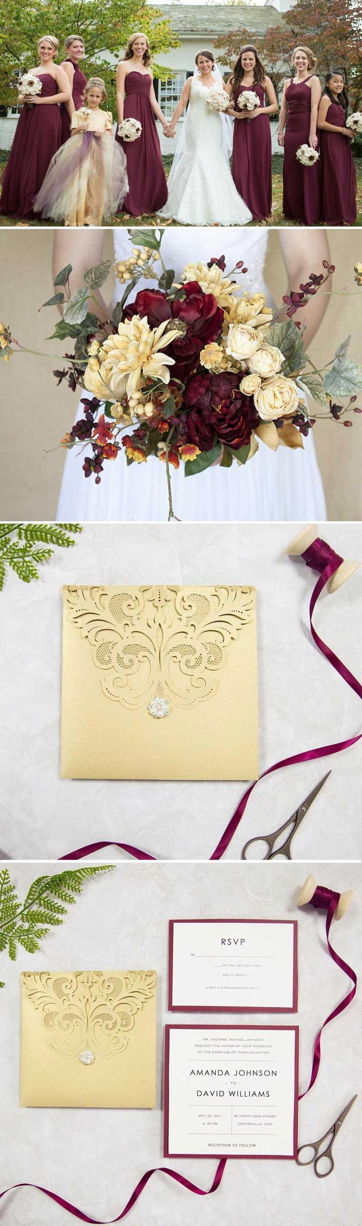 Gold And Burgundy Pocket Laser Cut Wedding Invites SWWS039