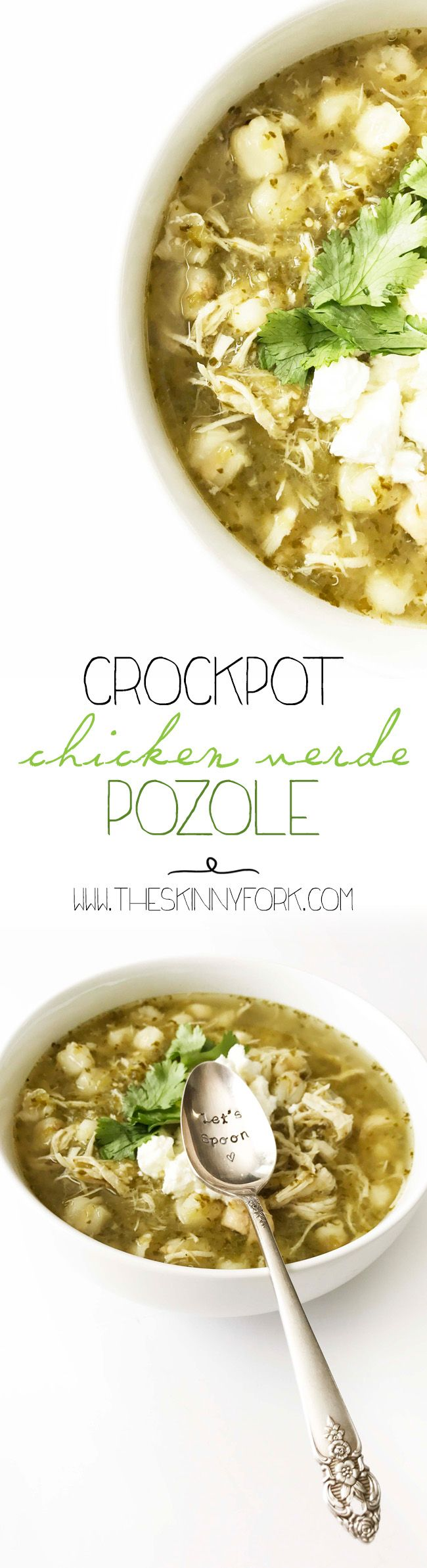 NEW New new Crockpot Chicken Verde Pozole! It's healthy. It's easy. And perfectly summer friendly. (I.E. - NO STOVE.)