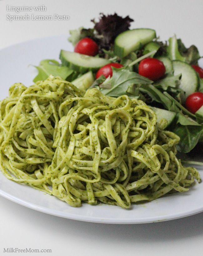 Linguine with Spinach Lemon Pesto - Make with spelt pasta for alkaline friendly (and try with basil instead of spinach as an alternative)