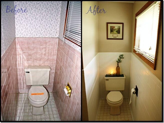As seen in the picture here, from dainty pink, the bathroom was transformed into a minimalistic, organic  space with earth tones.  You can even paint your floors fancy!
