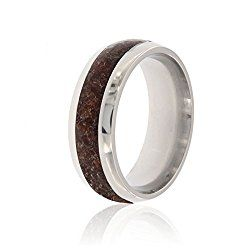 new dinosaur bone ring made with titanium and handcrafted with dinosaur bone fossil usa made comfort fit wedding bands 8mm wide - Dinosaur Bone Wedding Ring