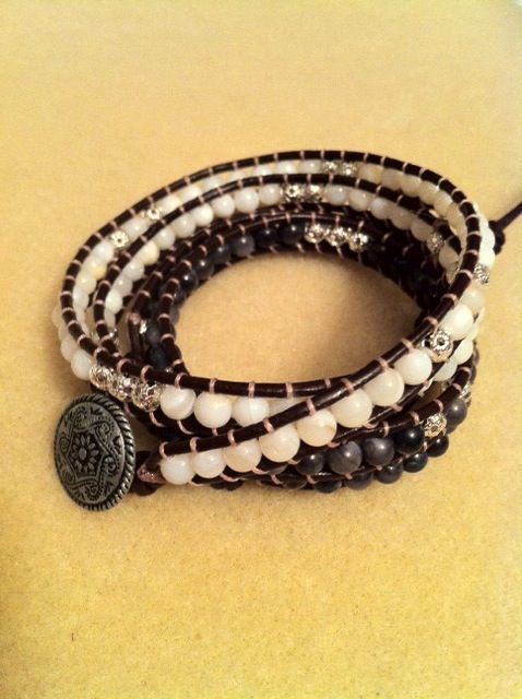 ($70.00) Brown leather with white shell beads and charcoal shell beads accented with silver bead spacers.