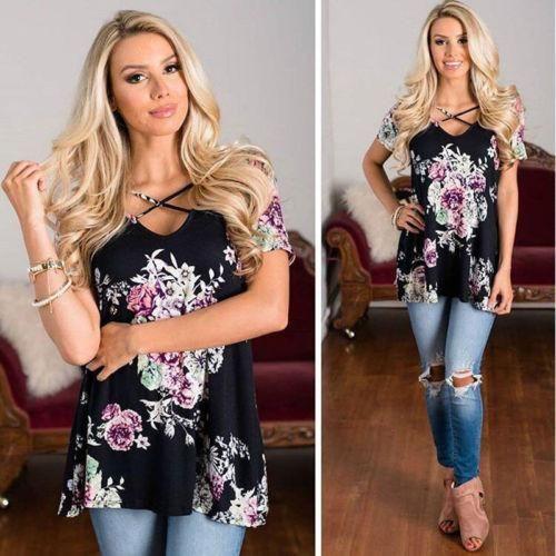 Women's Summer Short Sleeve Floral Print T Shirt Tops (USA Stock)  #art #me #tbt #summer #photooftheday #instagood #followme #design #girl #friends