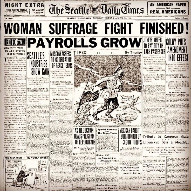 #seattletimes posts cover story from 1920, on this date, when the 19th Amendment was enacted granting women the right to vote in America. #19thamendment #womenssuffrage #womensrights #history #flashbackfriday #seattle