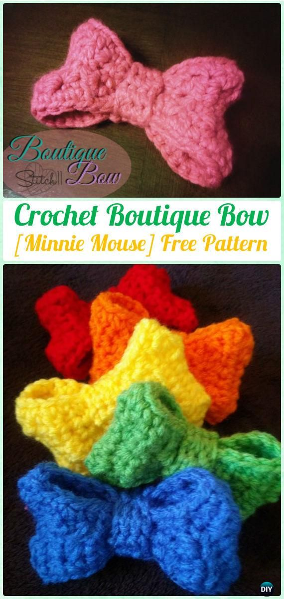 Crochet Boutique Bow [Minnie Mouse] Free Pattern - Crochet Bow Free Patterns