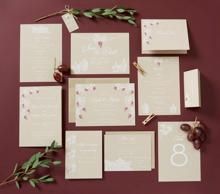 Perfect for your Vineyard or Winery Wedding, this invitation suite print in white opaque ink on craft card stock and features hand drawn grapes, and wine imagery. Invitations, Save the Dates, Menus, Programs, Table Numbers, Place Cards, Itinerary by Ivory Isle Designs