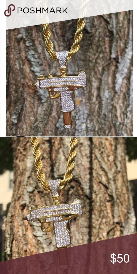 18k GP Diamond UZI Pendant & Gold Rope Chain The 18k GP Diamond UZI Pendant & Gold Rope Chain has become a must have piece in all jewelry enthusiast collection. Seen in celebrities like Quavo, Travis Scott and many more this piece is one of our best sellers the immaculate attention to detail craftsmanship of this piece speaks for it self. Simple yet but it makes you stand out in the best CZ diamonds stones out there will Guarantee you will shine bright any time of day.   Available Chain…