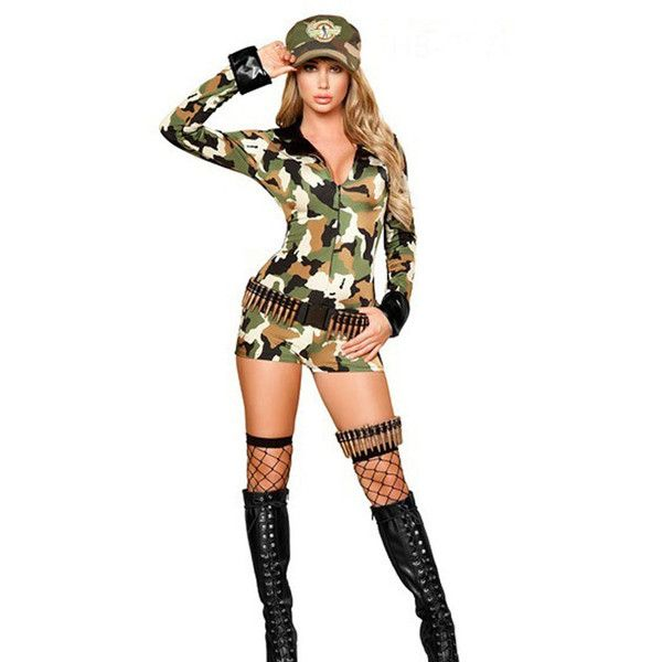 Army Green Camouflage Army Girl Costume ($29) ❤ liked on Polyvore featuring costumes, sexy army halloween costume, army halloween costumes, sexy army costume, sexy camo costume and camo costume