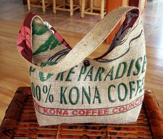Kona Coffee Burlap Hobo Purse and Handbag MADE TO by ManilaExtract, $60.00