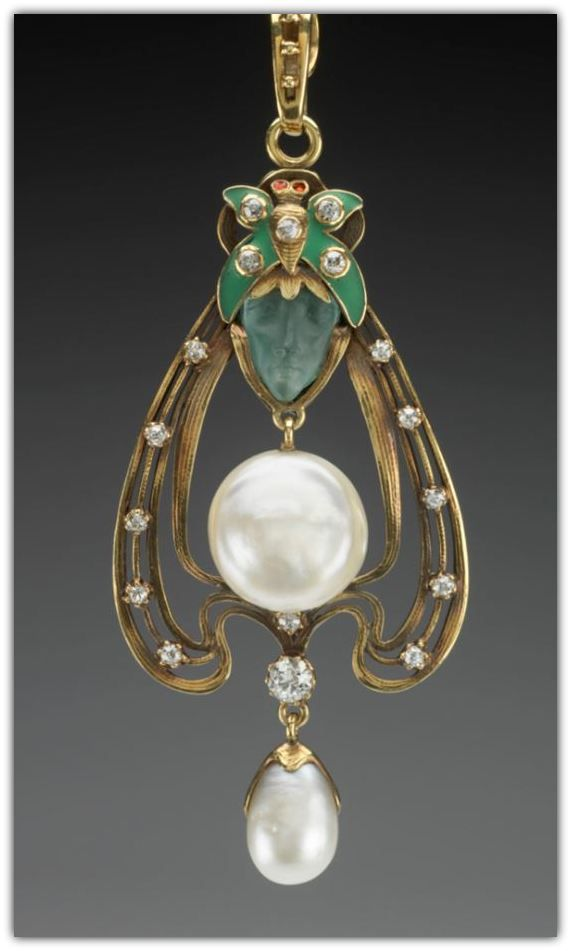 Gorham Manufacturing Company American, Providence, 1831- Pendant, ca. 1900. Gold, pearls, frosted green glass, diamonds, enamel and rubies.