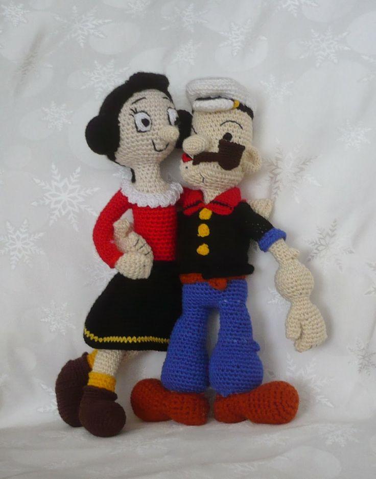 popeye and olive amigurumi dolls