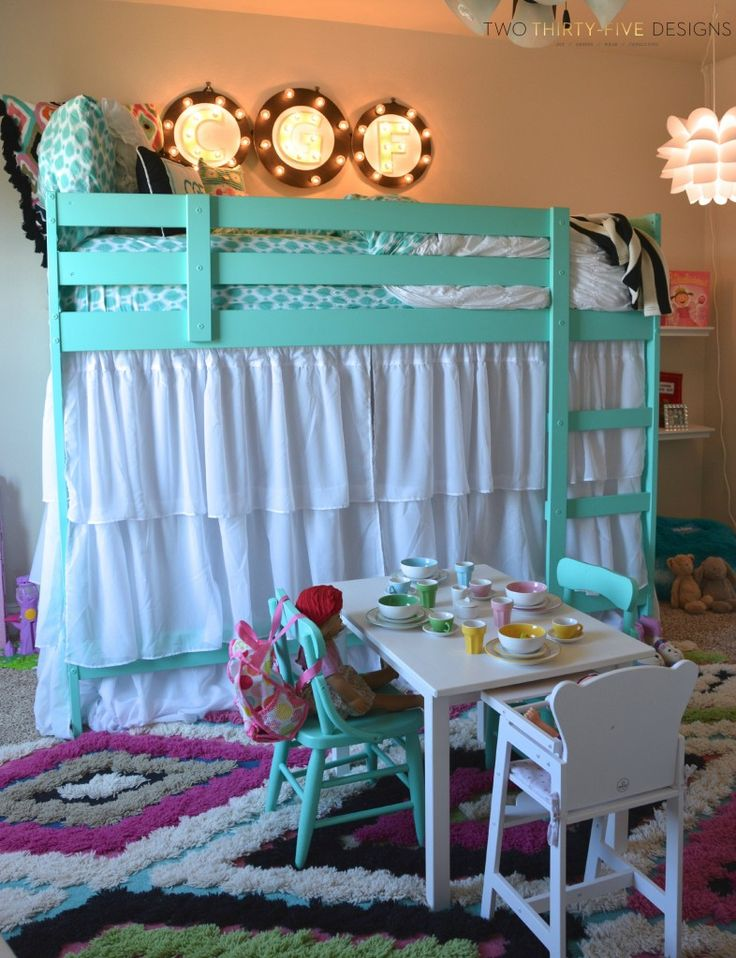 Ikea Bunk Bed Hack - So easy!  Bunk bed ($159) without adding the bottom mattress.  Added curtains to give a private play area that can open and close.  Can paint any color, the wood come raw.  :)  Less expensive option to PB, I'd be happy to do on my next trip!