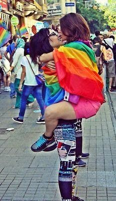 Image result for gay pride drunks girls kissing